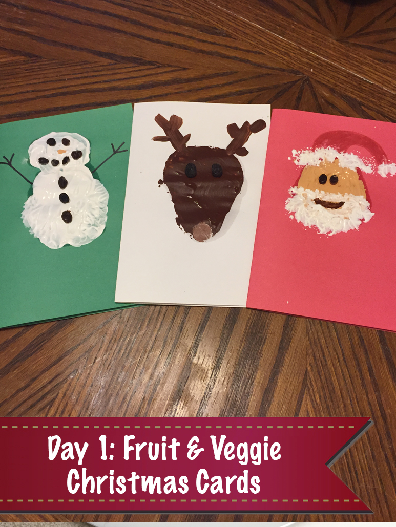 12 Days of Christmas Day 1: Fruit & Veggie Christmas Cards with the Kids