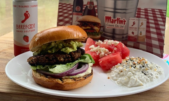 Delicious Black Bean Burgers with Avocado served with Barefoot Hard Seltzer