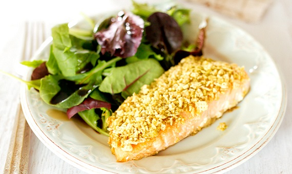 Ginger Wasabi Chex Crusted Salmon